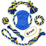 EADE Dog Rope Toy - Puppy Chew Toys for Aggressive Chewers - Durable Puppy Teething Toys for Teeth Cleaning - Washable Cotton Knot Rope Balls Toys - Best Gift for Small to Medium Dogs (6 Pack).
