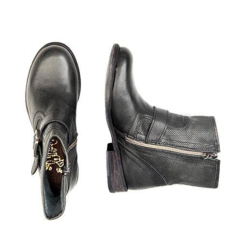 Felmini - Zapatos para Mujer - Enamorarse com Gredo 8265 - Botas Cowboy & Biker - Cuero Genuino - Negro - 0 EU Size Negro