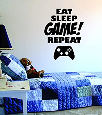 Eat Sleep GAME Repeat Quote Decal Sticker Wall Vinyl Art Design Gamer Cool Funny Game Room