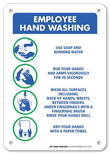 """Employee Hand Washing Sign - 10""""x7"""" - .060 Heavy Duty Plastic - Made in USA - UV Protected and Weatherproof - A81-415PL"""