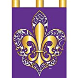 Magnolia Garden Gold Color on Purple Damask Fleur de Lis 42 x 29 Rectangular Double Applique Tab Top Large House Flag