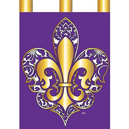 Magnolia Garden Gold Color on Purple Damask Fleur de Lis 42 x 29 Rectangular Double Applique Tab Top Large House Flag
