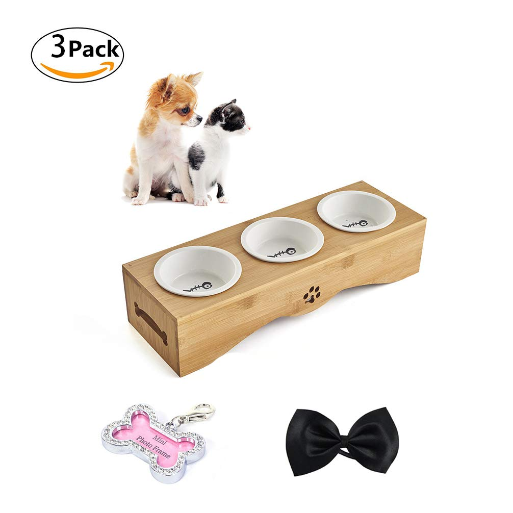 Ceramics Triple M ceramics Triple M LA VIE Pet Feeding Bowls Ceramic Food Water Feeder with Non-Slip Raised Bamboo Stand Set of Triple Bowls with 1 Pet Identity Card and 1 Pet Bow Tie Best for Small Dog Cat Puppies Random color M