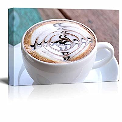 Canvas Prints Wall Art - Cup of Coffee with Artistic Cream Decoration | Modern Wall Decor/Home Art Stretched Gallery Canvas Wraps Giclee Print & Ready to Hang - 32