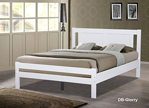 Glory White Wooden Slatted Bed available in 3FT Single, 4FT Small Double or 4FT6 Double (4FT6 Double) by Humza Amani