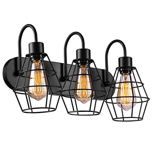 Elibbren Industrial Bathroom Vanity Light 3 Lights, Vintage Metal Cage Wall Sconce, Rustic Farmhouse Vanity Wall Light…