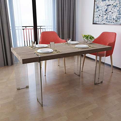 Sonoma Glass Desk - Migdon Modern Dark Sonoma Oak Faux Wood Dining Table with Clear Tempered Glass Legs