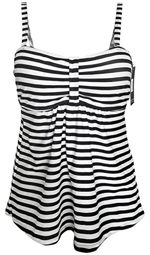 Gabrielle-Aug Women's Classic Stripe Tankini Top Swimsuit(FBA) (16, Black)