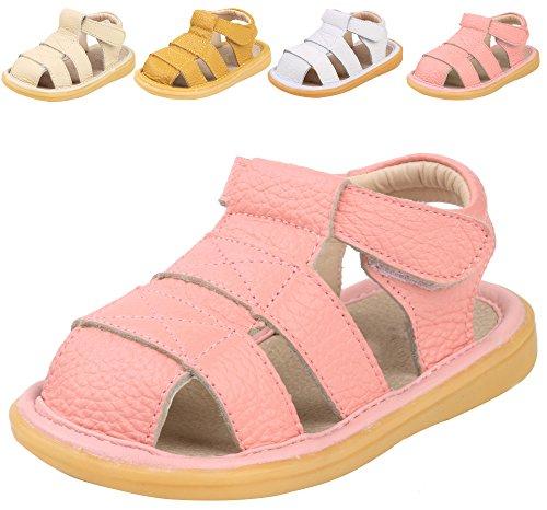 LONSOEN Toddler Boy Girl Summer Outdoor Closed-Toe Leather Sandals(Infant/Toddler),Pink KSD002 - Shoes Athletic Pink Leather