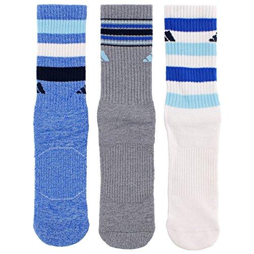 Adidas Women's Cushioned 3-Pack Crew Socks, Blue Icey Blue Marl/Grey Clear Onix Marl/White/Icey Blue/Blue/Collegiate Navy, Medium