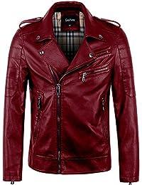 203bb7a2ffd9b Men s Vintage Asymmetric Zip Lightweight Faux Leather Biker Jacket