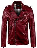 Best Leather Jacket Men - chouyatou Men's Vintage Asymmetric Zip Lightweight Faux Leather Review