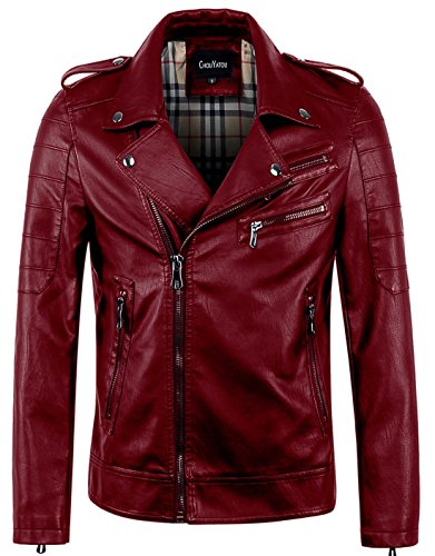 chouyatou Men's Vintage Asymmetric Zip Lightweight Faux Leather Biker Jacket (Small, Wine Red)