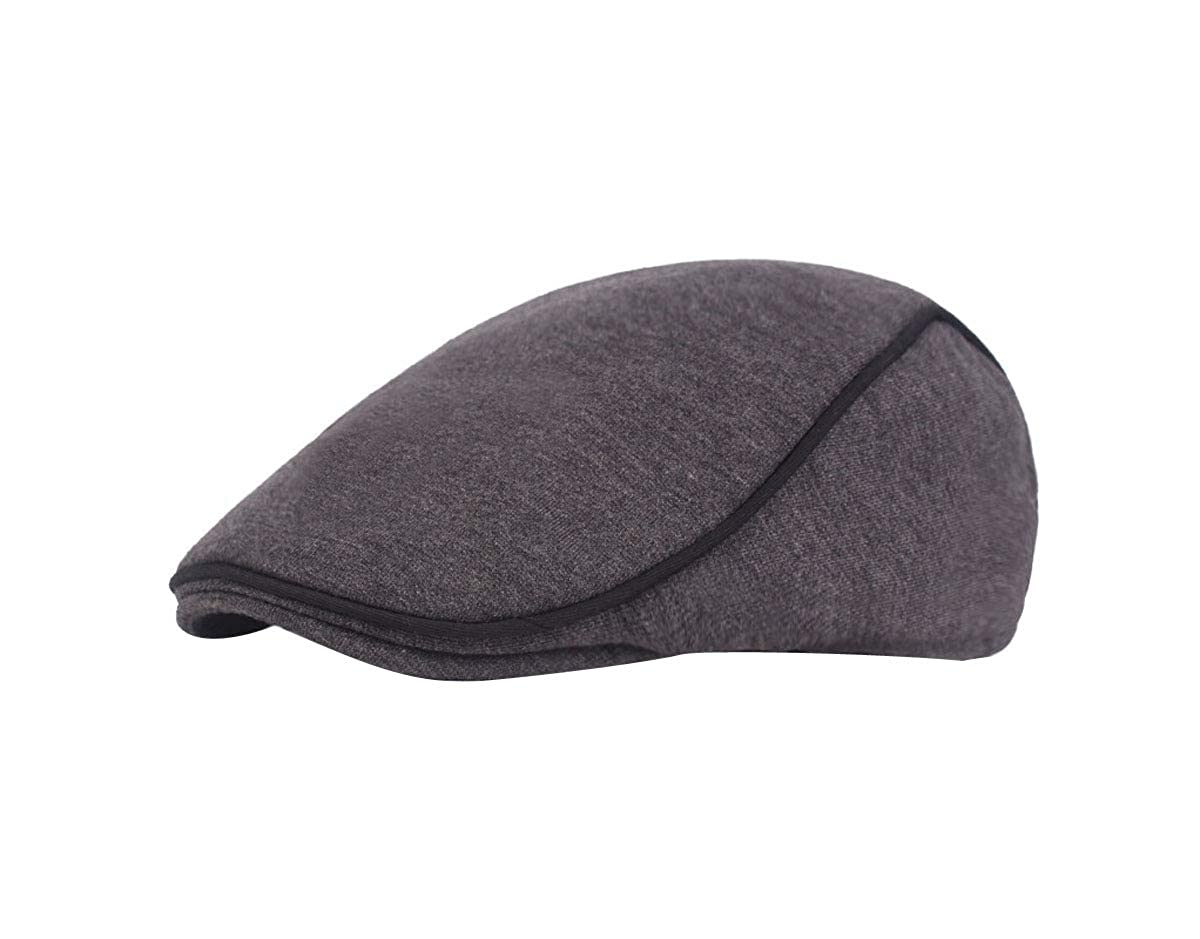 ACVIP Mens Solid Wool Winter Thermal Ivy Cabbie Gatsby Flat Cap Casual Headwear