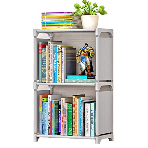 Lielisks Kids Bookshelf Open Shelf Bookcase DIY Plastic Office Storage Cabinet Gray 2 Cube