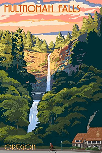 Multnomah Falls, Oregon - Sunset (12x18 Signed Print Master Art Print w/Certificate of Authenticity - Wall Decor Travel Poster)