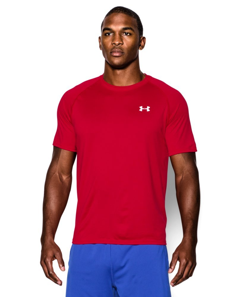 Under Armour Men's Tech Short Sleeve T-Shirt, Red /White, X-Small