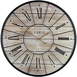 Sorbus Paris Oversized Wall Clock, Centurion Roman Numeral Hands, Parisian French Country Rustic Large Decorative Modern Farmhouse Decor Ideal for Living Room, Analog Wood Metal Clock, 24 Round