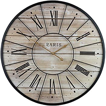 Sorbus Paris Oversized Wall Clock, Centurion Roman Numeral Hands, Parisian French Country Rustic Large Decorative Modern Farmhouse Decor Ideal for Living Room, Analog Wood Metal Clock, 24