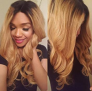 Amazon Com Ombre Color 2 Tone 1b 27 Blonde Natural Wave Human