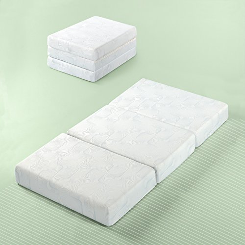 Zinus Gel Memory Foam 5 Inch Tri-Fold Comfort Portable Folding Mattress or Floor Mat, Single/Cot Size