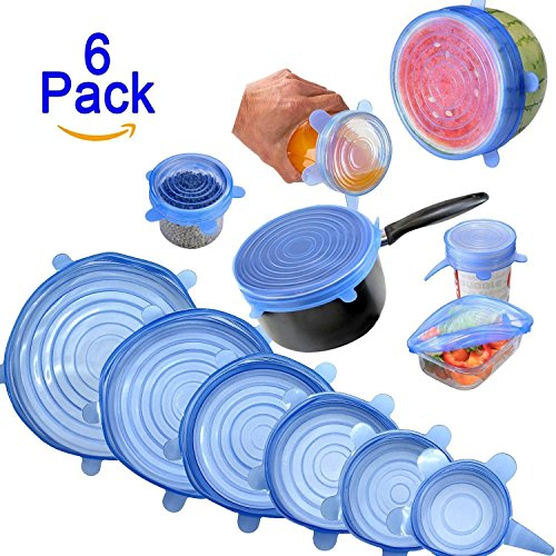 AMYSAFE Silicone Stretch Lids - 6-Pack of Various Sizes. Buy AMYSAFE Silicone Lids Food Wrap Bowl Pot Cover Cup Lid Fresh-Care and Seal