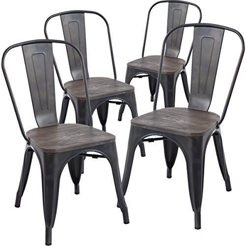Poly and Bark Trattoria Side Chair with Elm Wood Seat in Bronze (Set of 4) by Poly and Bark