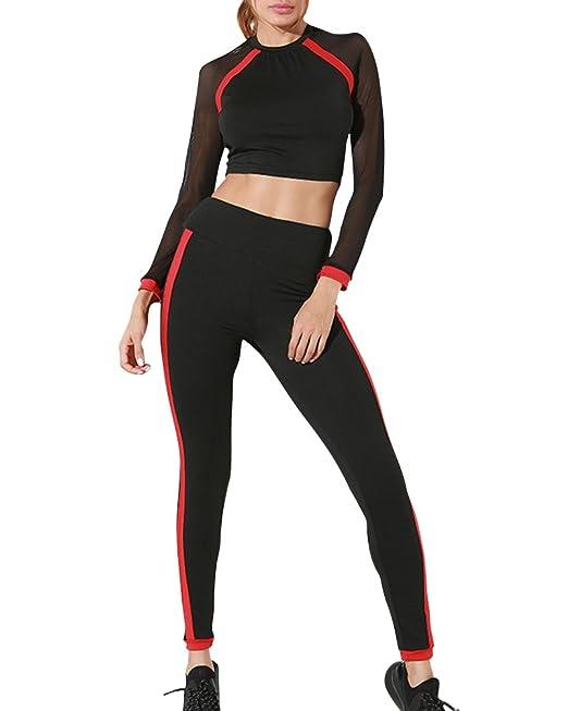 Mujer 2 Piezas Cuello Redondo Malla Costura Traje Deportivo Conjuntos  Elegante Manga Larga Sudadera Pantalones De Deporte Conjuntos  Amazon.es   Ropa y ... 9549216d36c06