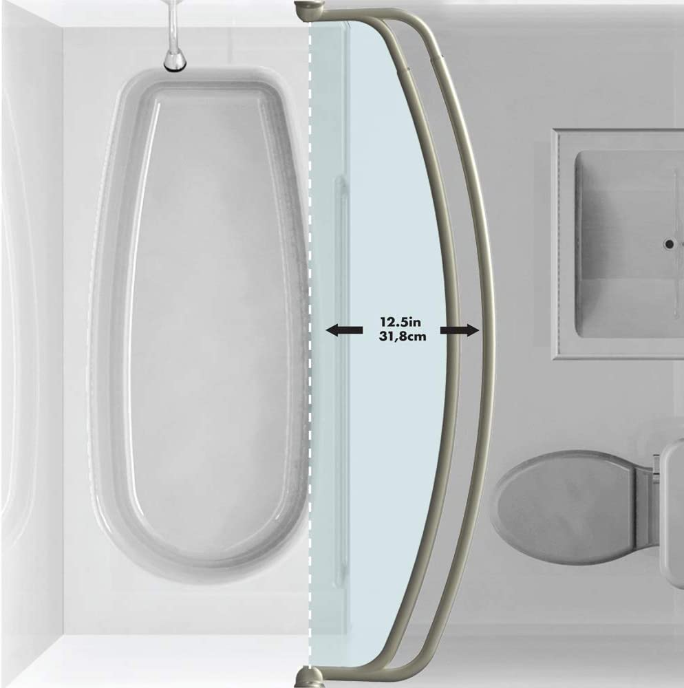 NeverRust Aluminum Double Curved Shower Curtain Rod 45 to Zenna Home 35604BN