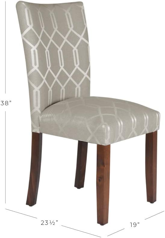 HomePop Parsons Classic Upholstered Accent Dining Chair Pewter Grey and Lattice Cream Set of 2