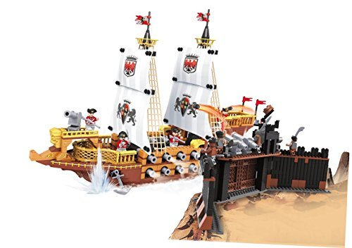 Set Attacking (Ausini Knights Royal Pirate Ship Attacking Castle Educational Building Bricks Set Compatible To Other Major Brands, 850-Pieces)