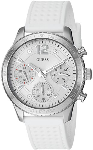 GUESS Women's Stainless Steel Multifunction Silicone Casual Watch