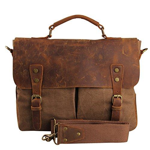 Hynes Eagle Vintage Business Canvas Messenger Bag (Coffee)