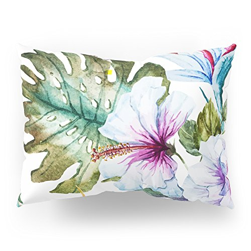 Society6 Watercolor Tropical Hibiscus Pillow Sham Standard (20'' x 26'') Set of 2 by Society6