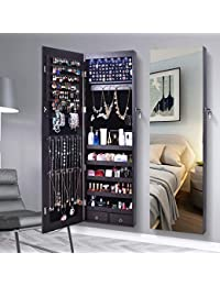 Jewelry Organizer Jewelry Cabinet, 6 LEDs Full Screen Display View Larger Mirror, Lockable Wall Door Mounted, Full length Mirror, Large Capacity Dressing Mirror Makeup Jewelry Armoire Organizer