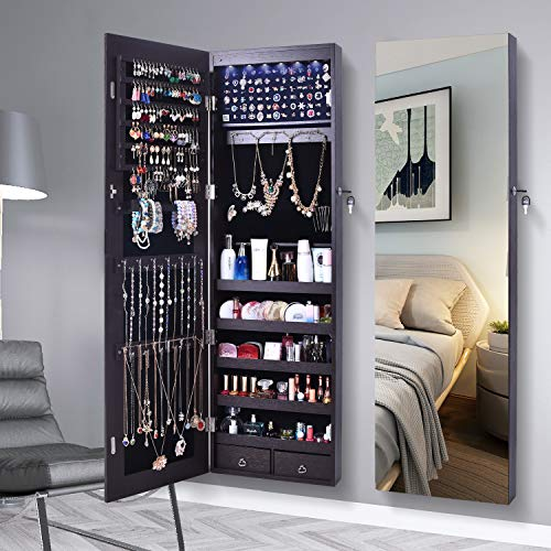 AOOU Jewelry Organizer Jewelry Cabinet,Full Screen Display View Larger Mirror, Full Length Mirror,Large Capacity Dressing Mirror Makeup Jewelry Armoire(Brown & LED)