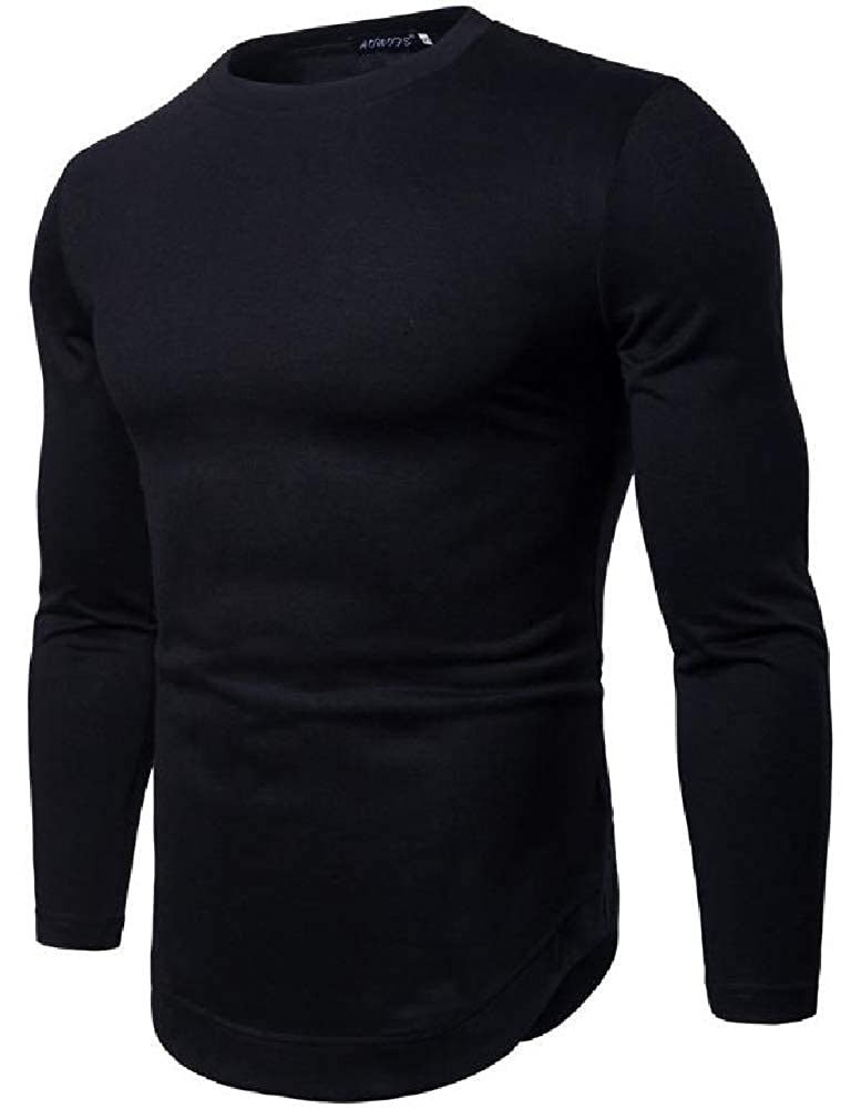 Sweatwater Mens Casual Long Sleeve Crew Neck Curved Hem Top Tee T-Shirts