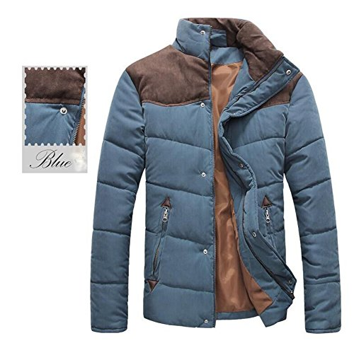 Mens-Cotton-Coat-Stand-Collar-Windbreaker-Contrast-Color-Jacket