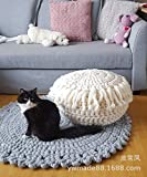 20 Inch Tall Ottoman Femery 100% Cotton Hand Knitted Twisted Cable Style Dori Pouf/Floor Ottoman Size 20