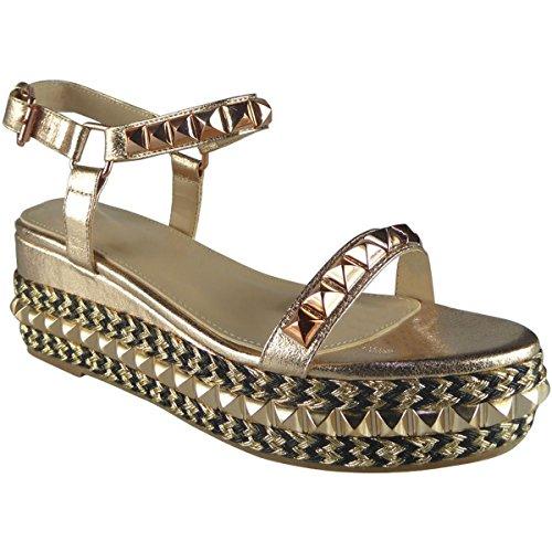 Miss Image UK Damen mit Nieten Besetzt Niedrig Keilabsatz Espadrille Plateau Knöchelriemen Sandalen Schuhe Größe Roségold