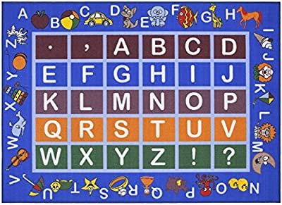 Ottomanson Jenny Collection Light Blue Frame with Multi Colors Kids Children's Educational Alphabet (Non-Slip) Area Rug