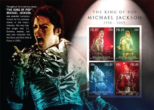 (Palau Michael Jackson in Memoriam 1958-2009 Souvenir Sheet Stamps PAL0912SH)