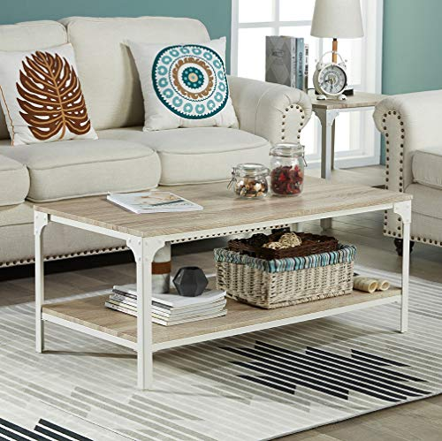 Homissue Industrial Style Coffee Table Lower Shelf, 2 Tier Rectangular Cocktail Table Living Room, Light Oak Shelf, (Light Oak Rectangular Table)