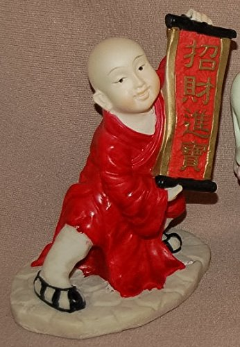 Hand Painted Resin Figurines, About 3 Inches Tall, Many Styles to Choose By Your Own (Boy Red Scroll) ()