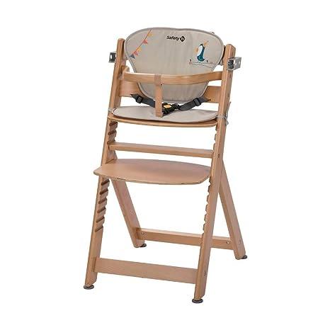 Safety 1st TIMBA con Cojín Happy Day - Trona de madera evolutiva, color madera, cojín beige, de 6 meses a los 10 años, hasta 30 kg.