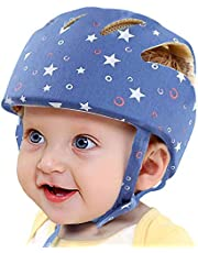 Infant Baby Safety Helmet, IULONEE Toddler Soft Adjustable Cap When Learning to Walk, Children Safety Harnesses Hat for Running Crawling (Star Blue)