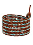 Chan Luu Turquoise Mix of Semi Precious Stones Leather Brown Wrap Bracelet