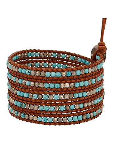 Chan Luu Turquoise Mix of Semi Precious Stones Leather Brown Wrap Bracelet by Chan Luu