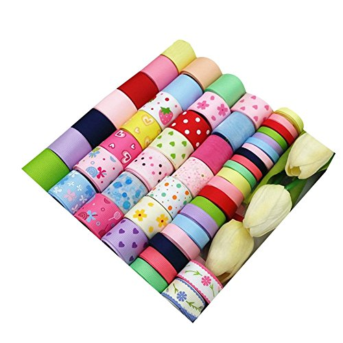 Surker 50 pcs Boutique Printed Grosgrain Ribbon DIY Hair Accessories Bow Value Pack