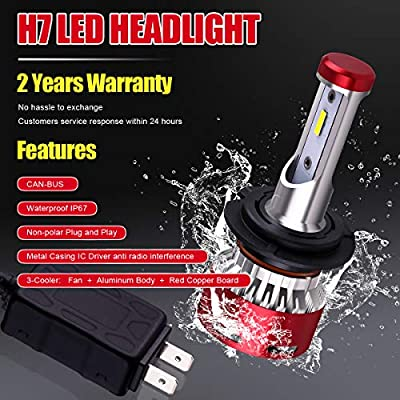 DODOFUN H7 Car LED Headlight Bulb Conversion Kit - High Beam Low Beam and Fog Light Replacement 6000K Xenon White Ultra High Performance Bright Non-polarity: Automotive